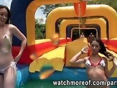 Curvy chicks fucked after water games