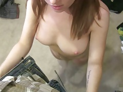 amateur redhead gives serious blowjob