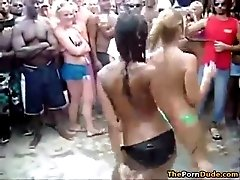 Horny girls in bikini's dancing in public