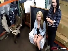 Lesbian couple fucked by perv pawn man at the pawnshop